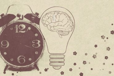 This shows an alarm clock and a brain
