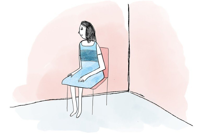 This is a cartoon of a woman sitting alone