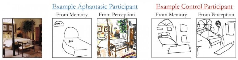 This shows a bedroom scene and drawings from those who can and can't visualize