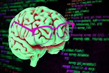 This shows a brain wearing glasses and computer code