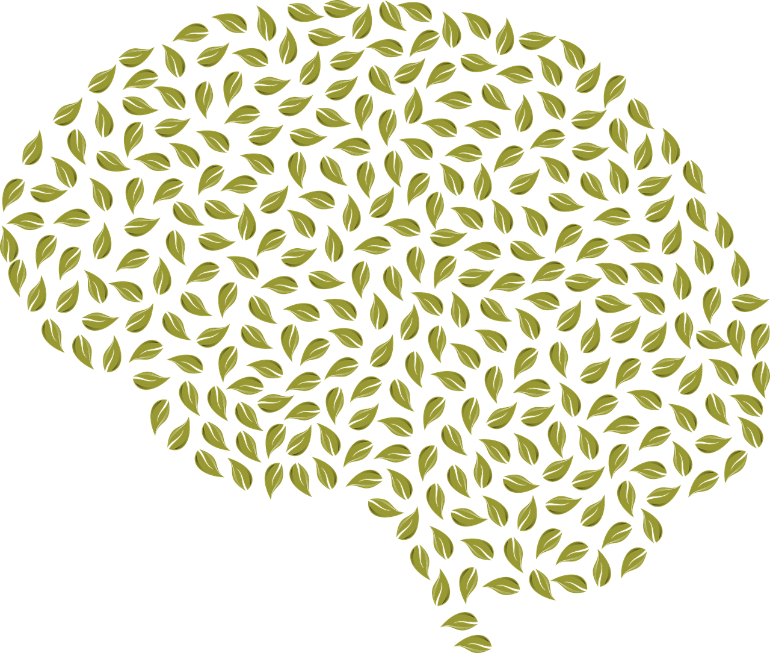This shows a brain made of leaves