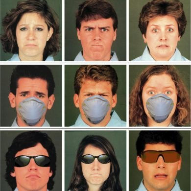 This shows people expressing different emotions. Some have masks on, some glasses