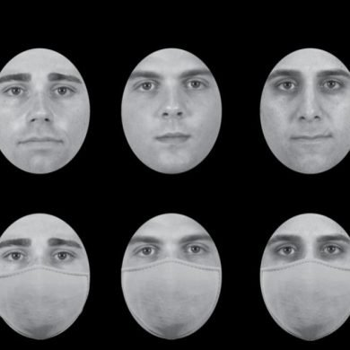 This shows normal faces and the same faces in surgical masks