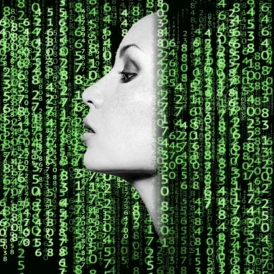 This shows a woman's face surrounded by computer code