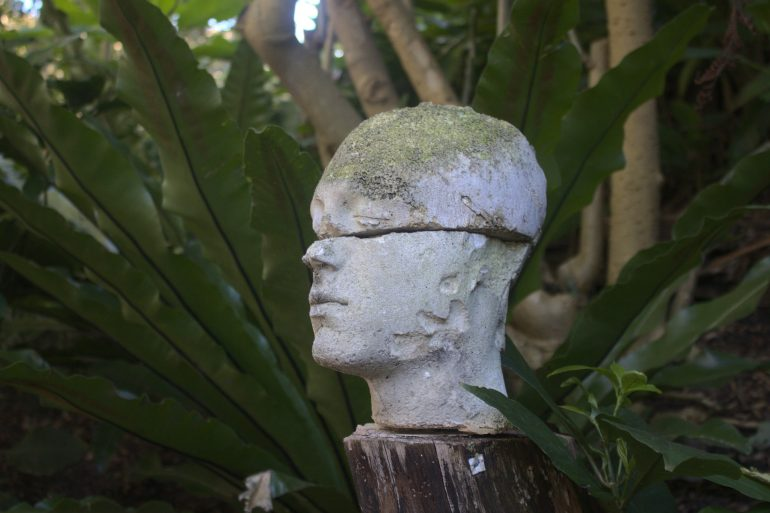 This shows a statue of a broken head