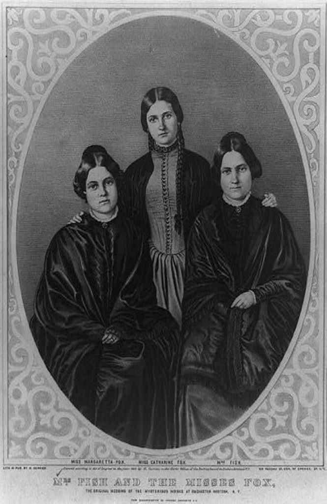This shows the Fox sisters, believed to be the originators of the Victorian era Spiritualist movement