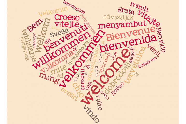 "This shows the word ""welcome"" written in different languages in the shape of a heart"