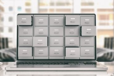 This shows a filing cabinet connected to a computer keyboard