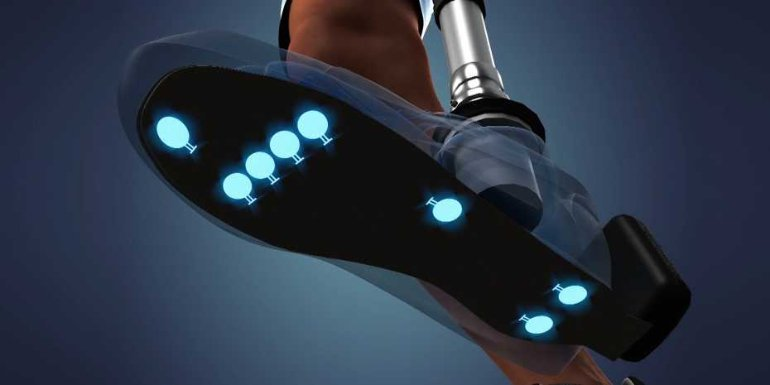 This shows a prosthetic foot with blue lights under it