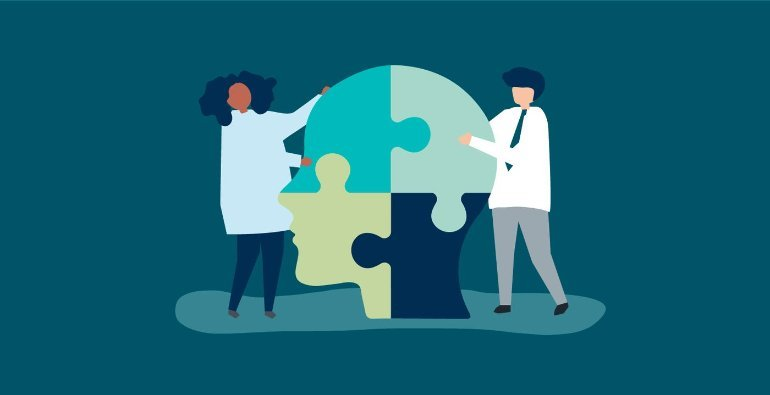 This is a cartoon of researchers piecing together a jigsaw puzzle of a head