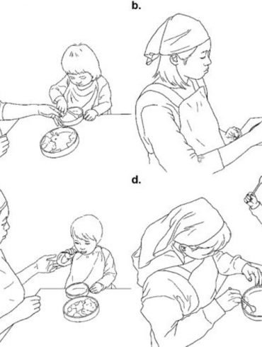 This is a diagram of toddlers eating