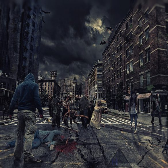 This shows zombies from a movie wandering the streets of a dark city