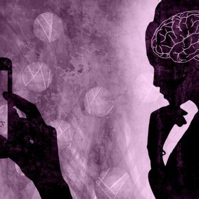 This shows a woman, a brain and a neuron
