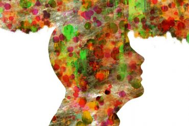 This shows the outline of a man with a fuzzy, colorful cloud above his head