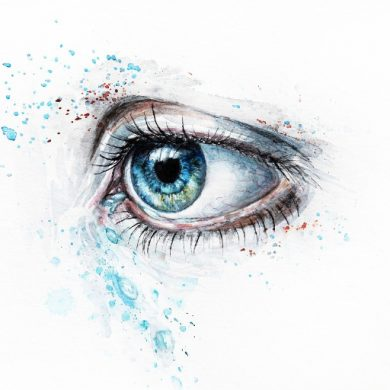This is a watercolor painting of a blue eye