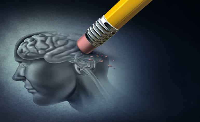 This shows an eraser rubbing out a drawing of a brain