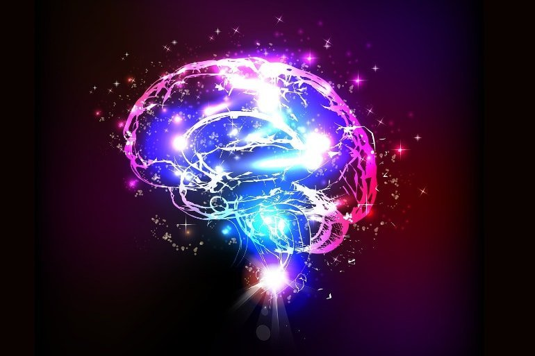 This shows a sparking blue and purple brain