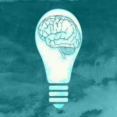 This shows a drawing of a brain in a lightbulb