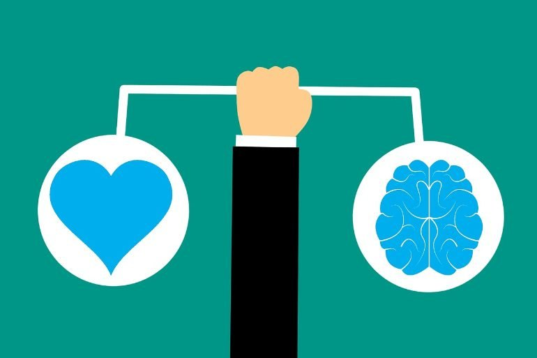 This is a cartoon of a heart and a brain