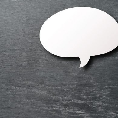 This shows an empty speech bubble against a gray background