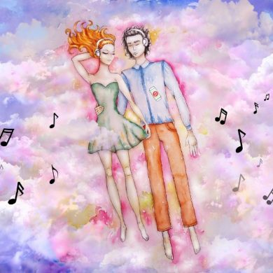This is a drawing of a couple hugging and music notes