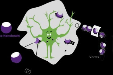 This is a cartoon of a smiling neuron surrounded by nano particles