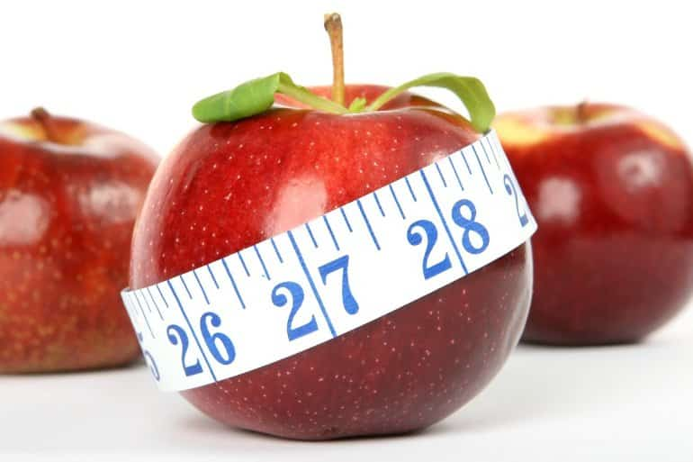 This shows an apple with a tape measure around it