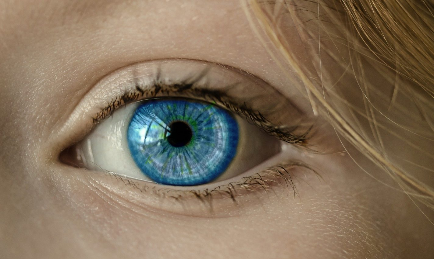 This shows a lady's blue eye