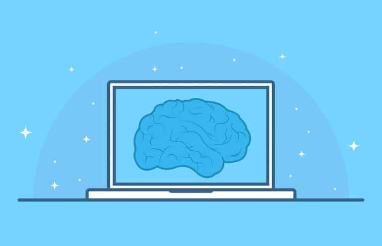 This shows a brain on a laptop