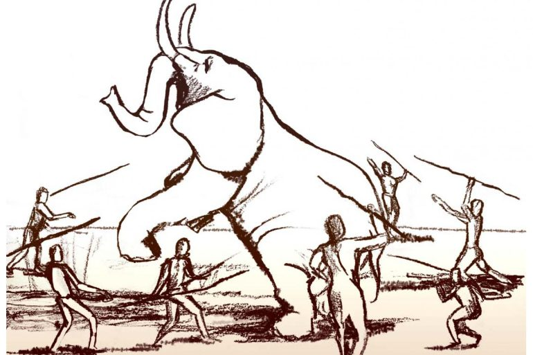 This is a drawing of people hunting an elephant