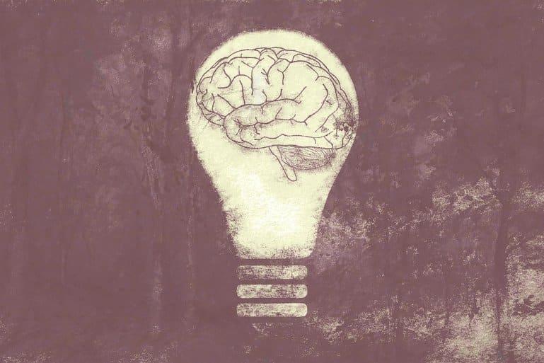 This shows a brain in a lighbulb
