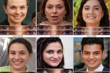 This shows 6 deepfaked faces