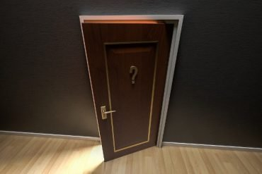 This shows a doorway with a question mark on it