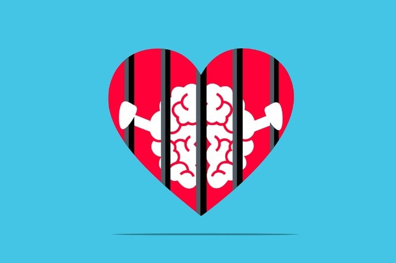 This is a cartoon of a brain behind bars in a heart-shaped jail cell