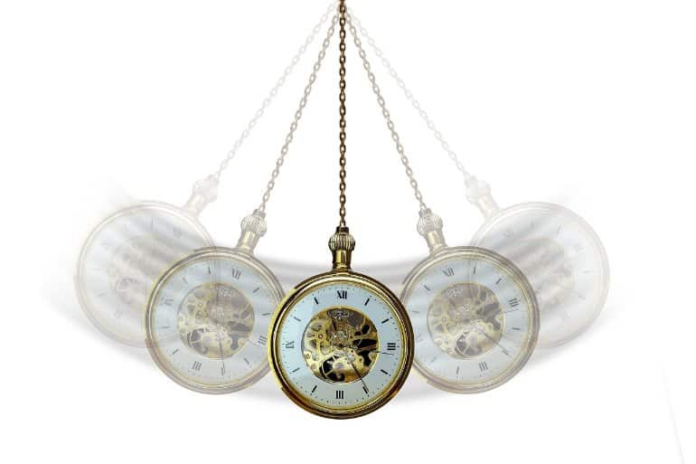 This shows a swinging pocket watch