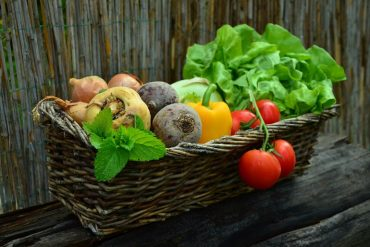 This shows a basket full of veggies