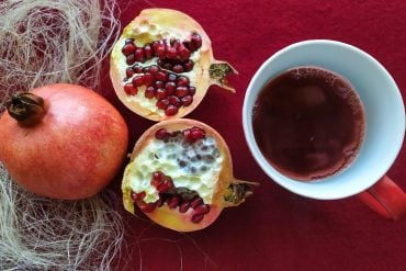 This shows a pomegranate and a mug of juice