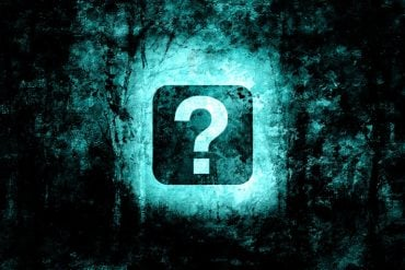 This shows a blue question mark in a dark forest