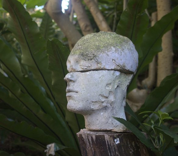 This shows a broken statue of a head