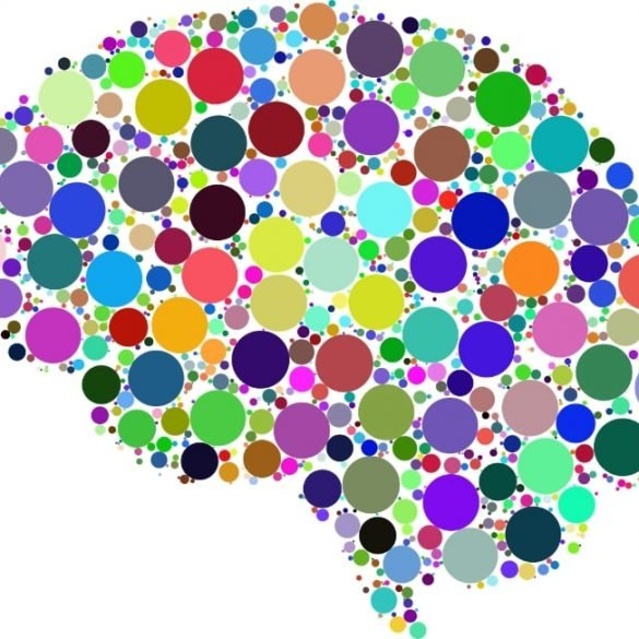 This shows a brain made up of colorful circles