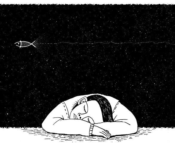 This is a cartoon of a sleeping man