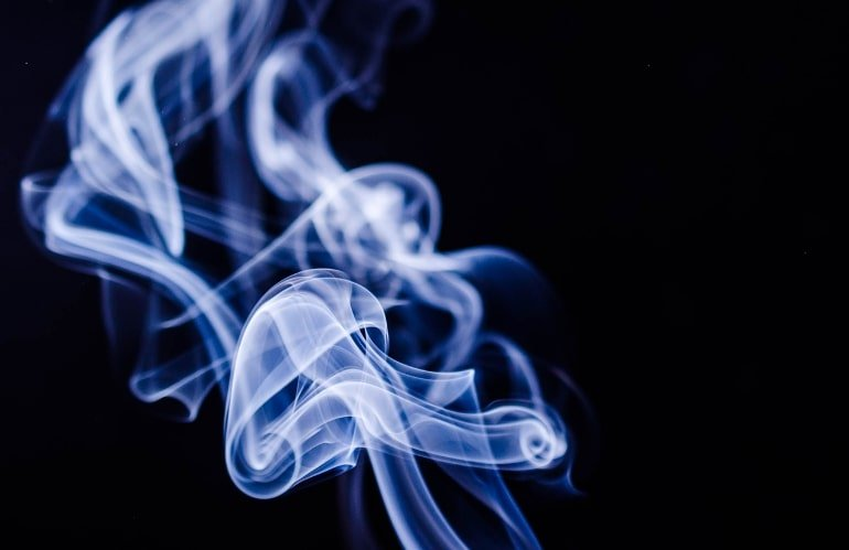 This shows white smoke against a black background
