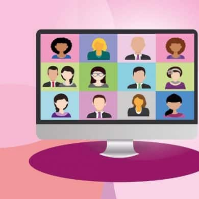 This shows a cartoon of people on a video call like a Zoom meeting