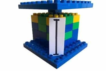 This shows a tower made out of lego blocks