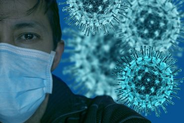 This shows a man and the covid virus