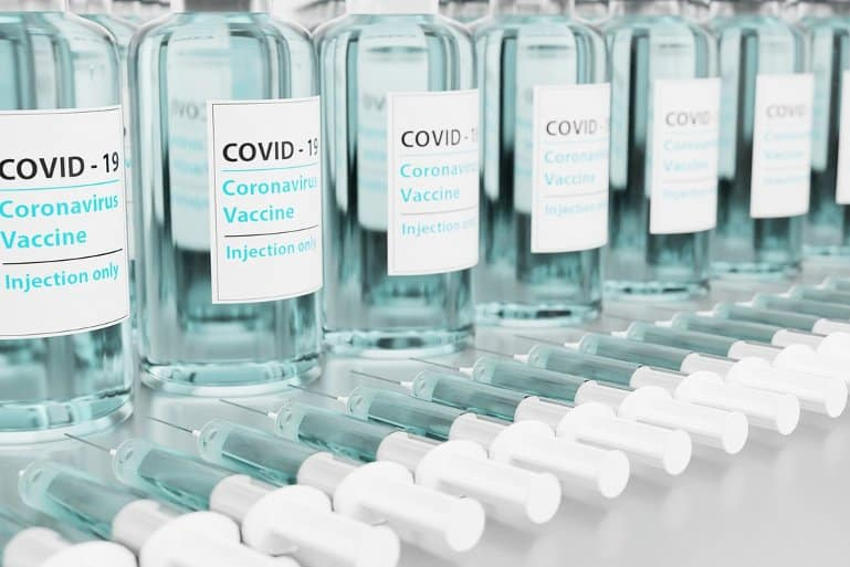 This shows vials of covid vaccine