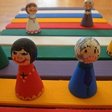 This shows wooden dolls on different colored spots on the floor