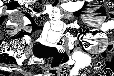 This is a drawing of a woman surrounded by random objects