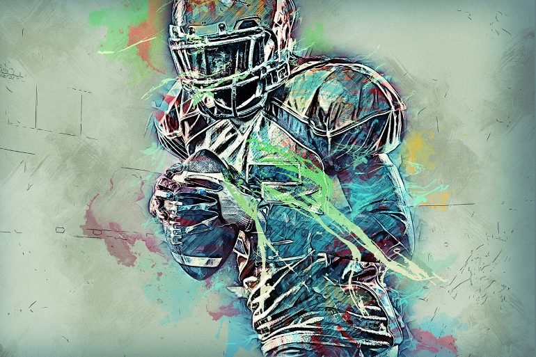 This is a drawing of a quarterback football player