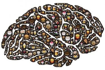 This shows a brain made up of food items